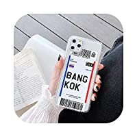 Hot World City Dubai Singapore Paris Bangkok Travel Ticket Label Phone Case FOR iPhone 7 8 Plus 11 Pro X XS Max XR Clear Cover-Bangkok-FOR iPhone X XS