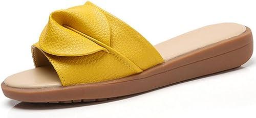 Sandales de plage et pantoufles été de pente de la mode féminine avec des chaussures à fond épais glisser le mot , jaune , US6   EU36   UK4   CN36