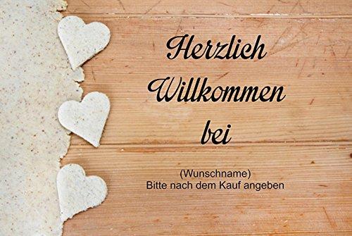 Crealuxe Fussmatte Herzlich Willkommen mit Wunschname (nach dem Kauf angeben) 8 - Fussmatte Bedruckt Türmatte Innenmatte Schmutzmatte lustige Motivfussmatte