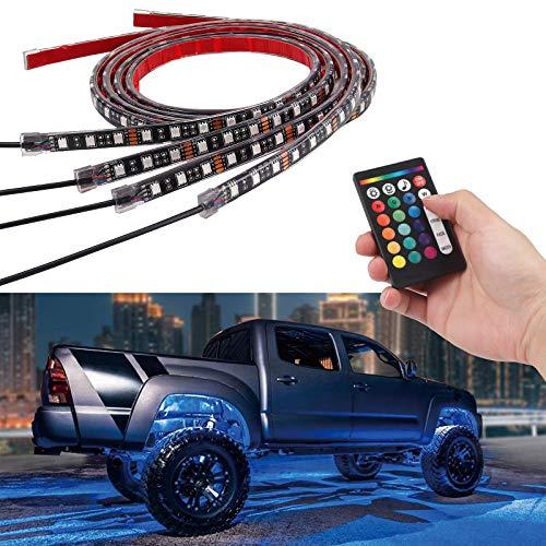 4 x 12V LED Streifen Licht 4 Modi 16 Farben Wasserdicht 4 Verlängerungskabel Motorrad Licht Set SMD 5050 RGB Flexible Neon Atmosphäre Lichtstreifen mit RF Fernbedienung Dekoratives Licht Kabellos