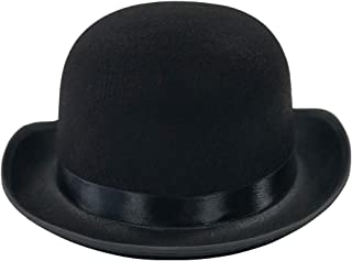 Dress Up Hats for Adults - Costume Party Hats for Men Women Unisex (Black Derby Bowler Top Hat)