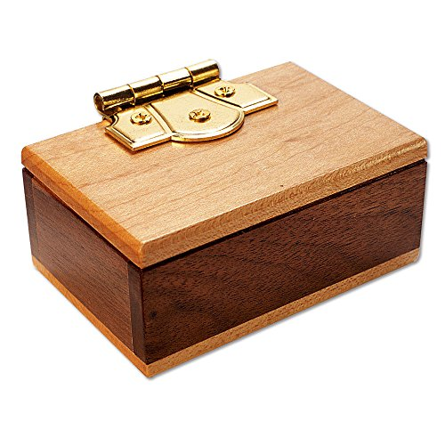 Bits and Pieces - The Mini Secret Box Brainteaser Puzzle - Wooden Maple and Walnut Hinged Puzzle Box - Doug Engel Brainteaser Measures 3-1/4 x 2-1/4 x 1-1/2 by Bits and Pieces