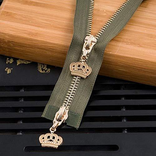 Een tandenborstel kop tanden zijsluiting openen decoratie dubbele scharnieropening kledingstuktoebehoren koperen,Militaire groene goud,120 cm dubbele leiding