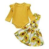 Haokaini 2 unids/Set Conjunto de Falda de Girasol de Mameluco de Manga Larga para niñas bebés para bebés
