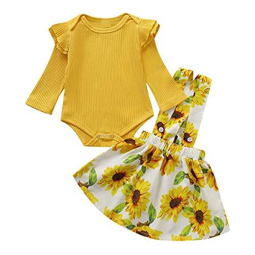 Borlai - Vestito alla moda per bambine a maniche lunghe, con bretelle a girasole, 0-18 mesi Giallo 18 mesi