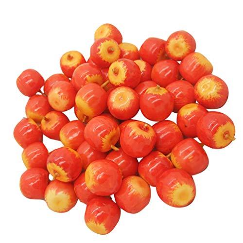 NUOBESTY 100Pcs Mele in Miniatura Mele delle Bambole Mele Artificiali Frutta Finta Fotografia Oggetti di Scena Fata Decorazione del Giardino Torta Pianta Vaso Ornamento (Colore Misto)