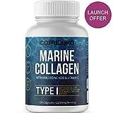 CORREXIKO Collagène Marin et Acide Hyaluronique, 120 gélules - Dosage Élevè 2200mg, Vitamine C & Minéraux - Complément Peau Cheveux Ongles Os & Articulations - Hydrolysate Type 1 & 3