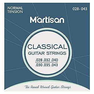 Rendimiento superior: las cuerdas de guitarra clásica MARTISAN adoptan solo el cable de cuerda de la mejor calidad para garantizar su calidad y hacer que el sonido sea más hermoso. Viene con 3 púas de guitarra adicionales. Herida chapada en plata: lo...