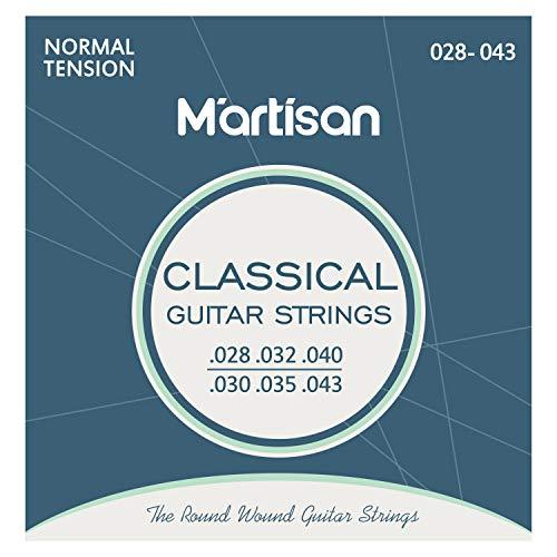 MARTISAN klassische Gitarrensaiten Konzertgitarre, Saiten aus Nylon und Silber für klassische Gitarre Normal Tension, 028/043, 6 Saiten Set mit 3 Plektren
