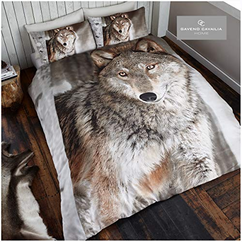 Gaveno Cavailia WILDLIFE 3D Wolf Duvet Bed Set with Duvet Cover and Pillow Case, Polyester-Cotton, Multi-Colour, Single