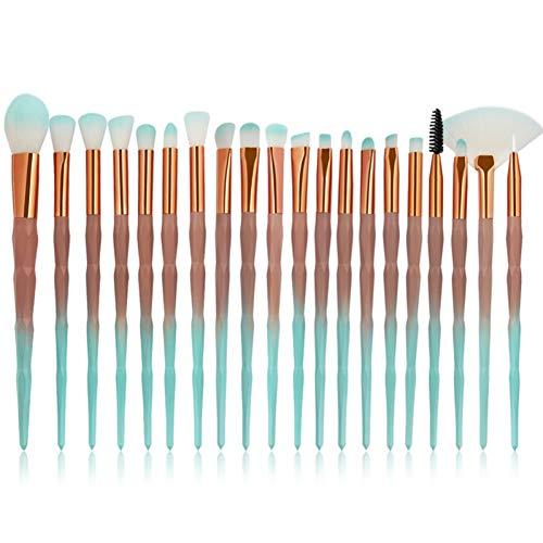 KDBHM Pinceau de Maquillage 10 / 20Pcs pinceaux de Maquillage mis en Queue de Poisson Fard à paupières Contour Foundation Concealer Blush Poudre Make Up Brush Outils,20pcs Vert Brun
