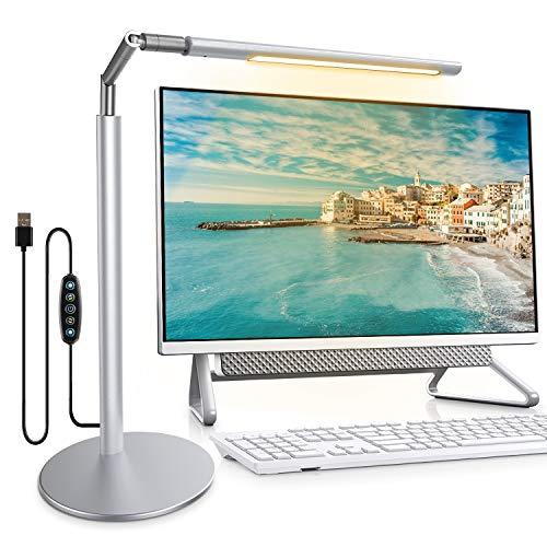 CoMokin Lámpara de Escritorio LED, Lampara Monitor Ordenador, Lámpara de Protección Ocular de Pantalla, 5 Modos de Luz deColor, Luz de Computadora Regulable para Escritorio Estudio Oficina