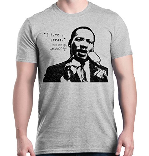 shop4ever I Have A Dream T-Shirt Martin Luther King Jr. Shirts Large Sports Grey 0