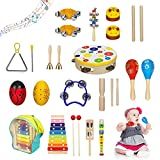ZONICE Musical Instruments Set for Kids,25PCS Wooden Percussion Instruments Toys Preschool Educational Musical Toys with Xylophone, Tambourine, Storage Bag and More for Boys and Girls Gift