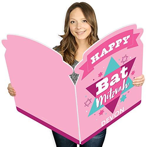 Big Dot of Happiness Pink Bat Mitzvah - CustomMazel Tov GirlGiant Greeting Card - Personalized Big Shaped Jumborific Card - 16.5 x 22 inches