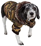 PET LIFE Classic Metallic Fashion Pet Dog Coat Jacket Parka w/ 3M Insulation and Removable Hood, Small, Camouflage