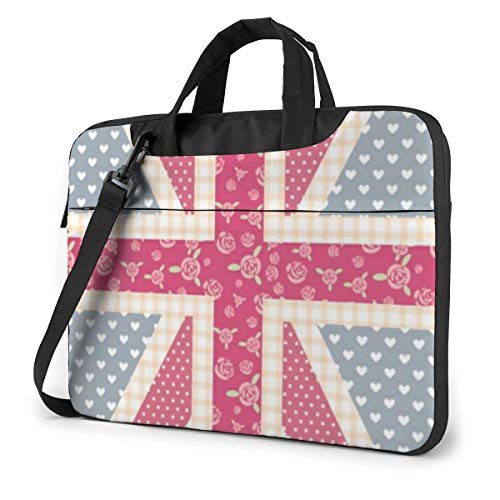 Pink UK Laptop Sleeve Case 14 Pulgadas Computer Tote Bag Shoulder Messenger Maletín para Viajes de Negocios
