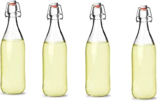 Annfly Lot de 6 bouteilles hermétiques en verre avec bouchon à clip traditionnel vintage transparent pour la préparation d...