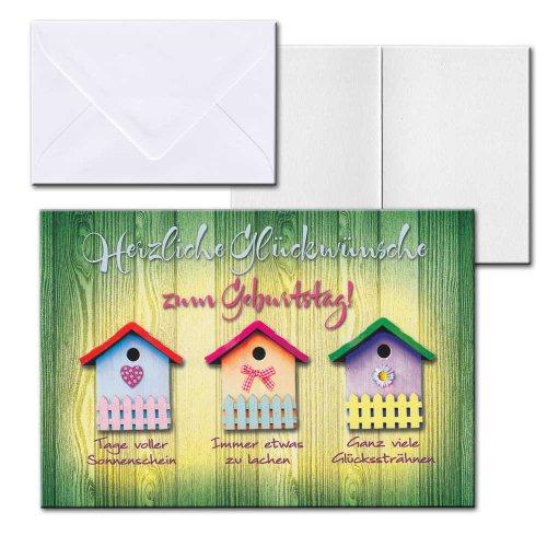 Cartolini Aufklappkarte Karte Sprüche Zitate Briefumschlag Geburtstag Vogelhaus 17,5x12 cm