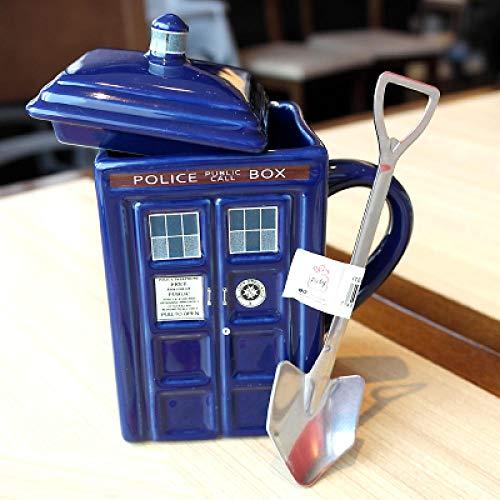 Tangmein 400 Ml Keramikbecher Doktor Dr. Who Tardis Kaffeetasse Mit DeckelMilchbecherThermoskanne WasserflascheTeetassen Gift-02_with_Spoon