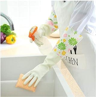 ニトリルゴム手袋 キッチン用手袋防水性と耐久性のあるゴム製家事用手袋、1ペア 使い捨て手袋 (Color : GREEN, Size : L)