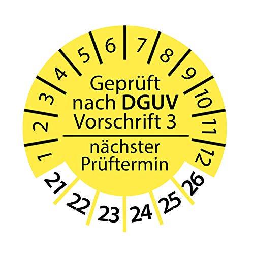 Prüfplakette DGUV Vorschrift 3 2021-2026 nächster Prüftermin 3cm Rund Geprüft nach DGUV Gelb Größe 250 Stk