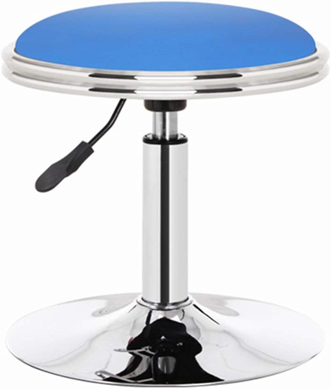 LIQICAI Bar Stool Faux Leather Seat Adjustable Height Swivel Rolling Stool Facial Massage Spa Salon Medical Stool, 6 colors (color   bluee)
