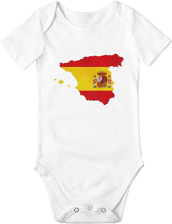 Spain Flag 5 ☆ popular Newborn Baby New Orleans Mall Boys Girls B Sleeve Short Bodysuits Soft