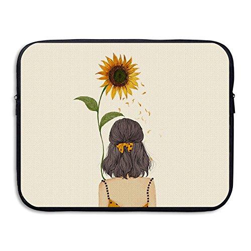 Waterproof Laptop Sleeve Case Sunflower Girl Back Pattern Ultrabook Sleeve Bag for 13 Inch MacBook Pro Air Dell Lenovo Samsung Sony