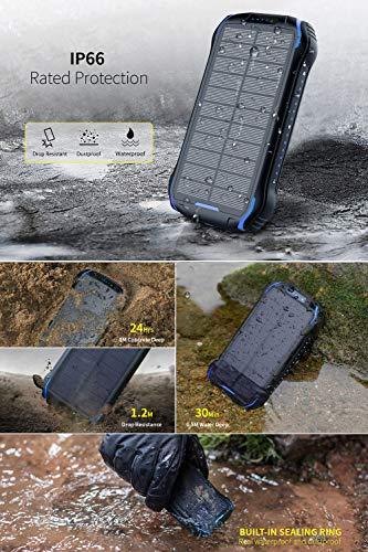 Soluser Powerbank Solar Wasserdicht 26800mAh Tragbares Handy Solarladegeräte mit 2 Eingangsports und 3 USB Ausgängen, Hohe Kapazitäts Externer Akku für Unterwegs, Ausflüge