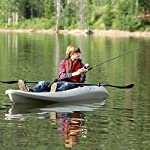 """Lifetime hydros angler kayak with paddle, sandstone, 101"""" 17 lightweight design. Multiple footrest positions for different size riders. Molded-in swim-up deck combination tunnel hull design provides great stability and tracking. Center carry handle for easy transport to waterfront front and rear shock cord straps. Front t-handle for easy transport"""