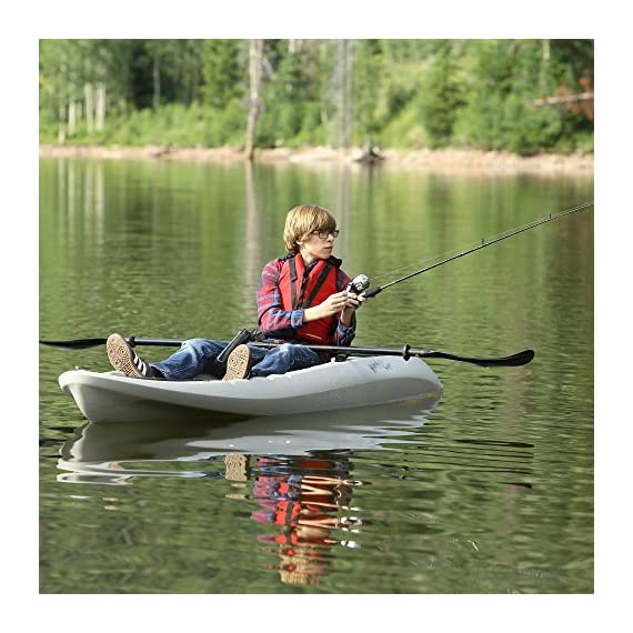 """Lifetime hydros angler kayak with paddle, sandstone, 101"""" 8 lightweight design. Multiple footrest positions for different size riders. Molded-in swim-up deck combination tunnel hull design provides great stability and tracking. Center carry handle for easy transport to waterfront front and rear shock cord straps. Front t-handle for easy transport"""