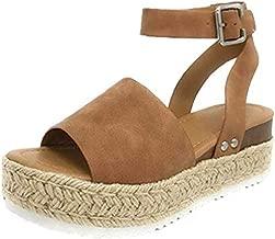 Sandalias Mujer Verano 2019 cáñamo Fondo Grueso Sandalias Punta Abierta Cuero Fondo Plano Zapatos Bohemias Romanas Hebilla Zapatillas Gris 35-43 riou