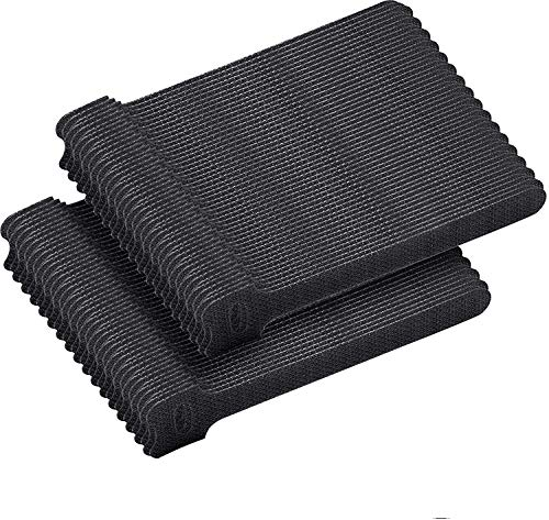 Voarge 100 bridas de velcro autoadhesivas, color negro, 150 x 12 mm, reutilizables, resistentes al agua y reutilizables