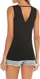 Poetsky Womens Backless Tank Tops Sleeveless Keyhole Blouse Sexy Summer Tshirt