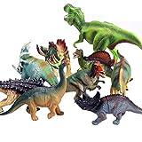 FLORMOON Dinosaur Toy - 9pcs PlasticRealistic Hollow Dinosaur Figures Include Tyrannosaurus Rex, Stegosaurus, Saichania, Brachiosaurus - Birthday Cake Decoration, Party Supplies for Kids Toddler