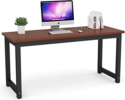 Tribesigns Modern Computer Desk, 63 inches Large Office Desk Computer Table Study Writing Desk for Home Office, Solid Metal Frame