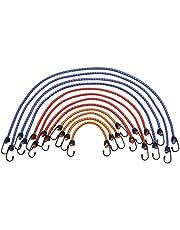 Meister Bagagespanner-set, 12-delig, 6 lengtes: 25 cm tot 90 cm, stalen haken met PVC-coating, rekbaar en scheurvast, voor alle soorten laadzekeringen, spanrubber met 2 haken, expander, 8638400