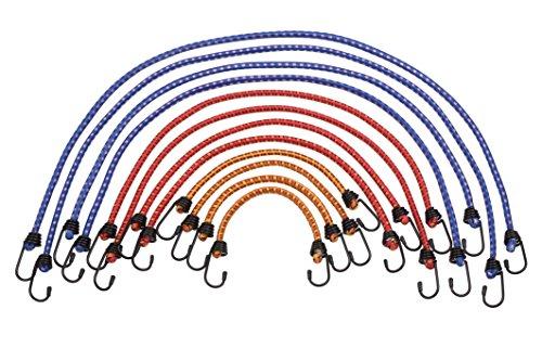 Meister bagagespanner 12-delig - 6 lengtes - stalen haken met pvc-coating - spanrubber met 2 haken/rubberen klemmen voor fiets, huishouden & werkplaats / 8638400