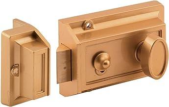 Prime-Line Trava noturna MP4100 e cilindro de bloqueio, serve para portas de 3,5 cm a 4,5 cm de espessura, diecast, pintur...