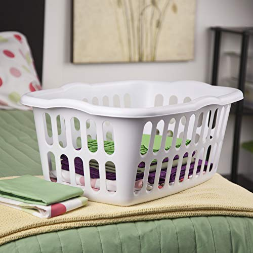 Sterilite 12459412 1.5 Bushel/53 Liter Rectangular Laundry Basket, White & Aqua Chrome, Assorted,...
