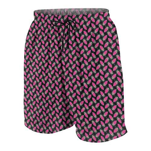 CGHD Rosa Cartoon Kakerlake Badehose für Jugendliche Quick Dry Beach Board Shorts mit Seitentaschen