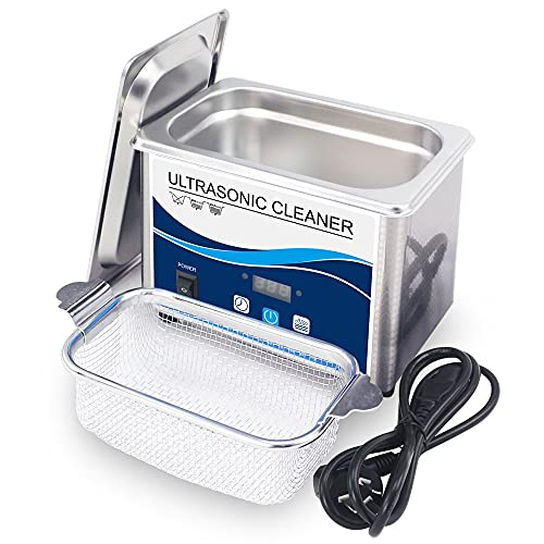 ZZX Limpiador ultrasónico de 35 W con Temporizador y desgasificación, máquina ultrasónica de 0,8 L y 40 kHz para joyería, Reloj, Limpieza de Gafas, dentadura postiza etc.