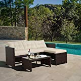 Peaktop Rattan Garden Furniture Table & Sofa Patio Conversation Set PT-OF0020-UK, White/Brown