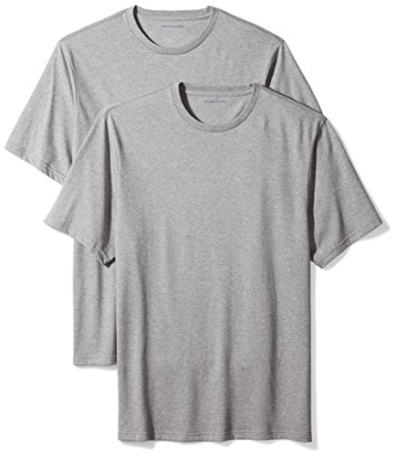 Amazon Essentials 2-Pack Regular-Fit Short-Sleeve Crewneck T-Shirts Camiseta, Gris (Heather Grey), Medium