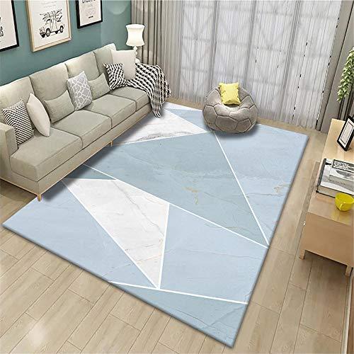 RUGMRZ Childrens Rug Blue big triangle fresh geometric pattern anti-dirty carpet durable Carpet Small Navy Rugs blue 80X200CM