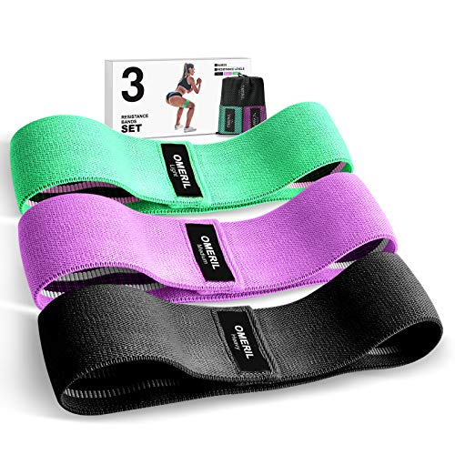 OMERIL Resistance Bands Set, 3 Packs Fabric Workout Bands with 3 Resistance Levels, Non-Slip Exercise Bands Elastic Resistance Loops bands with Carrying Bag for Legs, Butt Hips and Glutes