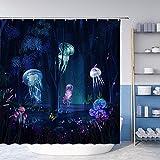 Duschvorhang mit Wald-Quallen & Fantasie, Märchen, magisch, abstrakt, Meerestiere, Pflanzen, Schmetterlinge, Nacht, Sternenhimmel, Badezimmer-Dekorations-Set aus Polyester