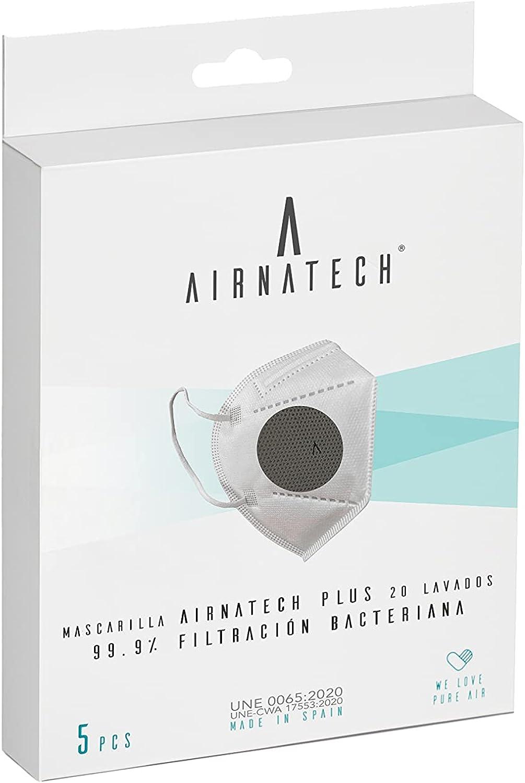 Mascarilla Higiénica Plus Antracita - Protección Bidireccional - 5 Unidades - Fabricada en España - Homologada y Certificada por AENOR y AITEX - Reutilizable hasta 20 lavados