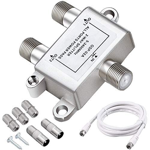 Splitter Satellitare 2 Vie, 2 Way TV Broadband Splitter con Connettore F da 1,5 m, Adattatore da F a Coassiale, Connettore F a Due Vie